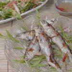 鮎の塩焼き香味野菜と
